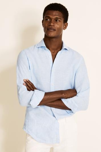 Moss 1851 Tailored Fit Sky Single Cuff Long Sleeve Linen Shirt