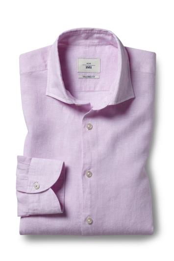 Moss 1851 Tailored Fit Pink Single Cuff Long Sleeve Linen Shirt