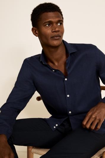 Moss 1851 Tailored Fit Navy Single Cuff Long Sleeve Linen Shirt