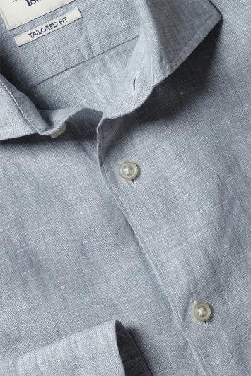 Moss 1851 Tailored Fit Sage Single Cuff Long Sleeve Linen Shirt