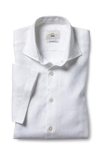 Moss 1851 Tailored Fit White Short Sleeve Linen Shirt