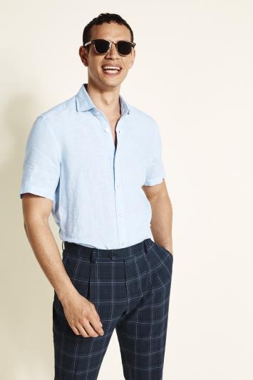 Moss 1851 Tailored Fit Sky Short Sleeve Linen Shirt