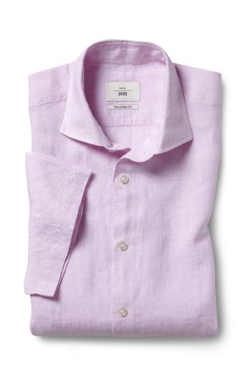 Moss 1851 Tailored Fit Pink Short Sleeve Linen Shirt