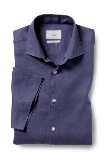 Moss 1851 Tailored Fit Navy Short Sleeve Linen Shirt
