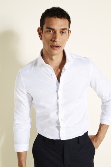 Slim Fit White Textured Shirt