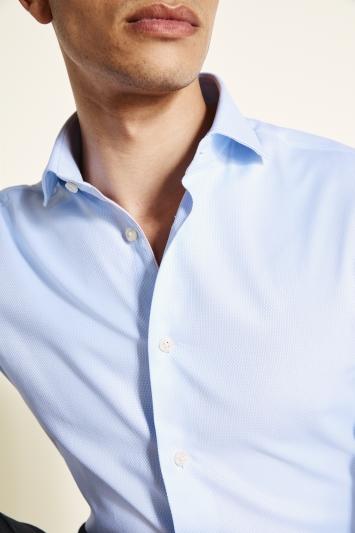 Moss 1851 Slim Fit Sky Single Cuff Textured Shirt