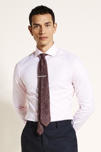 Moss 1851 Slim Fit Pink Single Cuff Textured Shirt