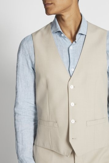 French Connection Slim Fit Neutral Check Waistcoat