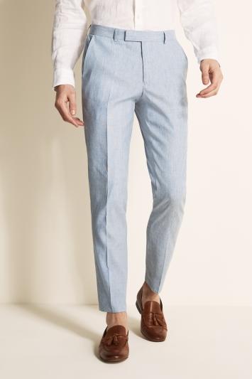 Moss London Slim Fit Light Blue Linen Trousers