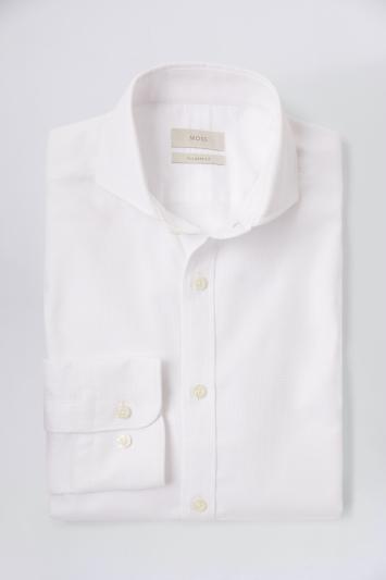 Moss 1851 Tailored Fit White Single Cuff Dobby Shirt