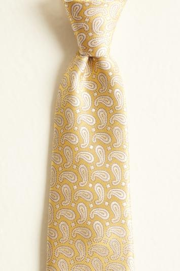Yellow Paisley Silk Tie