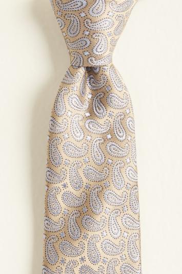 Moss 1851 Gold Small Paisley Silk Tie