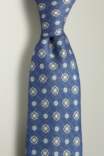 Blue Medallion Print Silk Tie