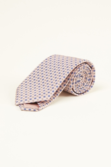 Pink Geo Print Silk Tie
