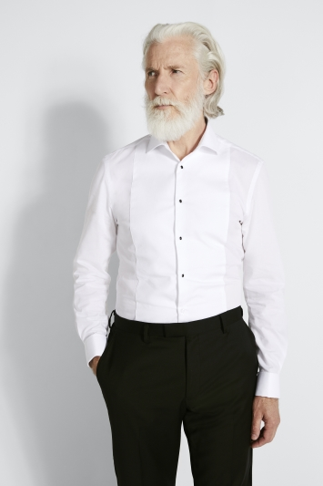 Moss 1851 Slim Fit White Marcella Regular Collar Dress Shirt