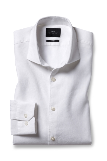 Moss London Slim Fit White Single Cuff Linen Stretch Shirt