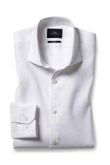Moss London Slim Fit White Single Cuff Linen Stretch Shirt
