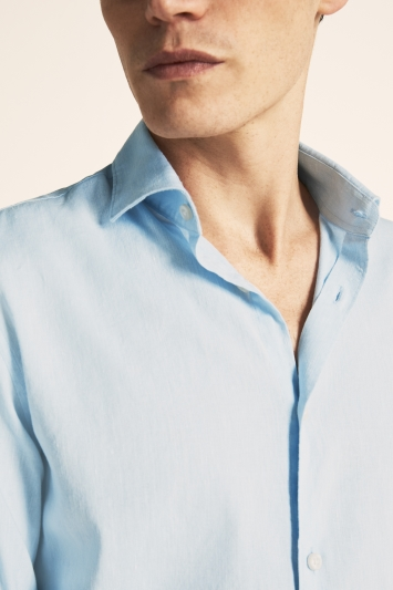 Moss London Slim Fit Sky Single Cuff Linen Stretch Shirt