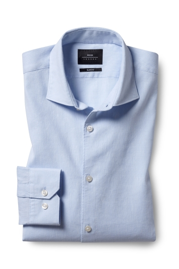 Slim Fit Sky Linen Stretch Shirt