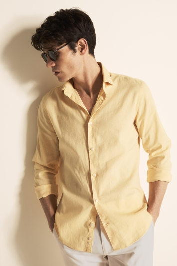 Moss London Slim Fit Yellow Single Cuff Linen Stretch Shirt