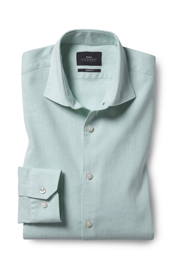Slim Fit Mint Linen Stretch Shirt