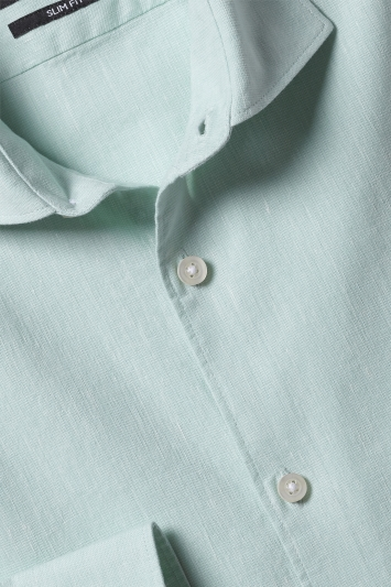 Slim Fit Mint Linen Stretch Shirt