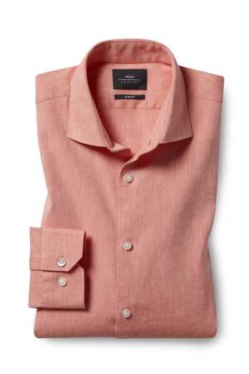 Moss London Slim Fit Coral Single Cuff Linen Stretch Shirt