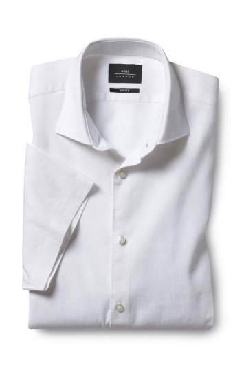Moss London Slim Fit White Short Sleeve Linen Stretch Shirt