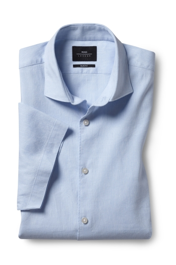 Slim Fit Sky Short Sleeve Linen Stretch Shirt