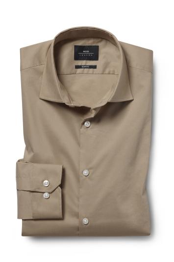 Moss London Slim Fit Camel Single Cuff Stretch Shirt