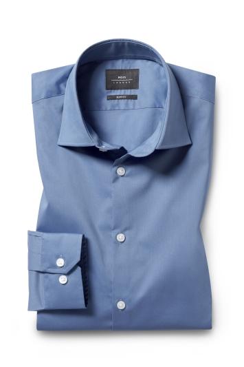 Moss London Slim Fit Blue Single Cuff Stretch Shirt