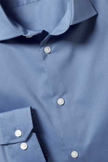 Slim Fit Blue Stretch Shirt