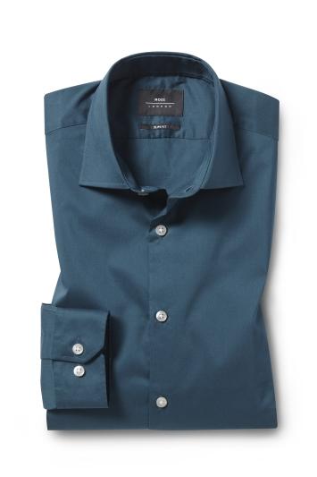 Moss London Slim Fit Sea Green Single Cuff Stretch Shirt