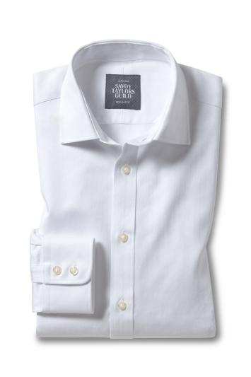 Regular Fit White Herringbone Shirt