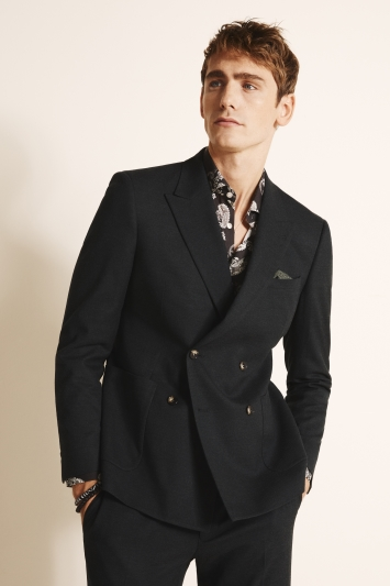 Moss London Slim Fit Forest Flannel Double Breasted Jacket