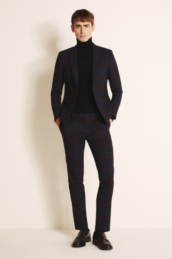 Moss London Slim Fit Burgundy Tartan Jacket