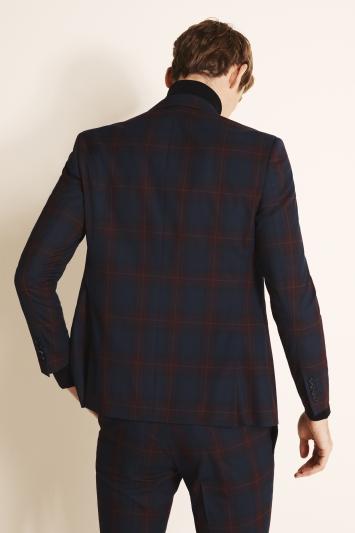 Moss London Slim Fit Burgundy Tartan Jacket