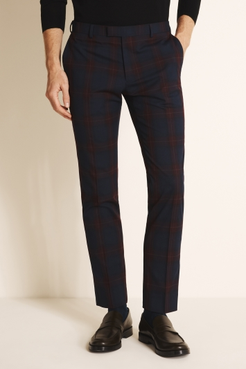 Moss London Slim Fit Burgundy Tartan Trousers
