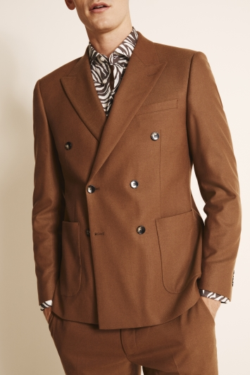 Moss London Slim Fit Chestnut Double Breasted Jacket