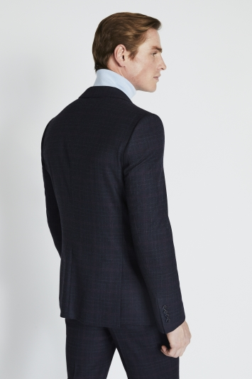 Moss London Slim Fit Navy Pink Check Jacket