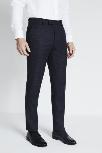 Moss London Slim Navy Pink Check Trousers