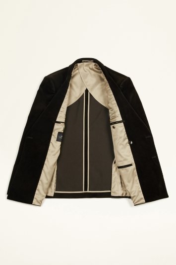 Moss London Slim Fit Olive Corduroy Double Breasted Jacket