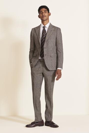 Moss London Slim Fit Brown Check Tweed Jacket