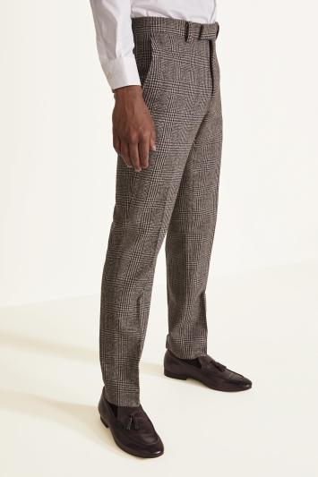 Moss London Slim Fit Brown Check Tweed Trousers