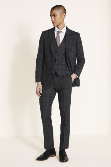 DKNY Slim Fit Charcoal Check Jacket