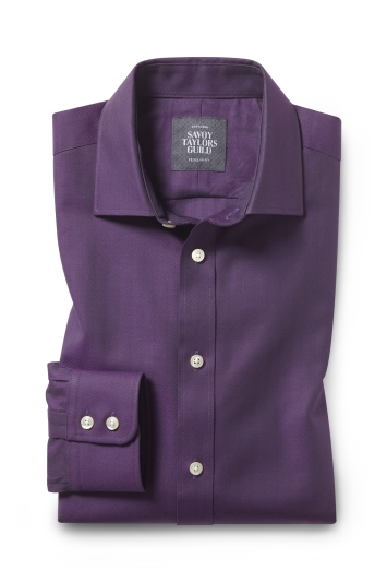 Savoy Taylors Guild Regular Fit Berry Single Cuff Herringbone Shirt