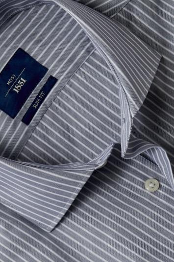 Moss 1851 Slim Fit Navy Single Cuff Stripe Shirt