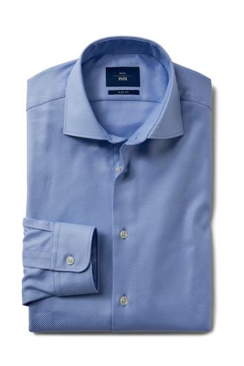 Moss 1851 Slim Fit Sky Single Cuff Comfort Twill Shirt
