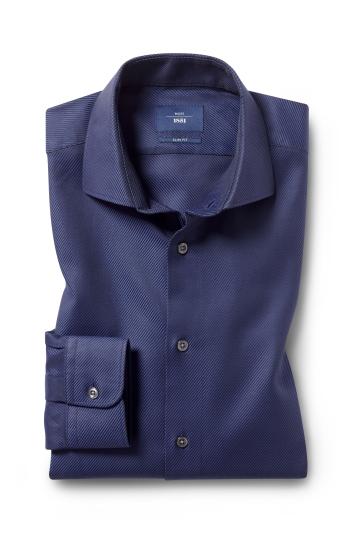 Moss 1851 Slim Fit Navy Single Cuff Comfort Twill Shirt