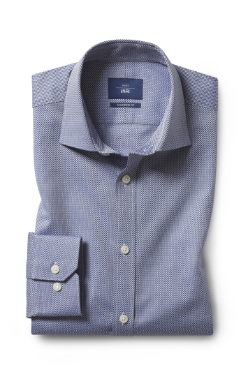 Moss 1851 Tailored Fit Navy Single Cuff Dobby Shirt